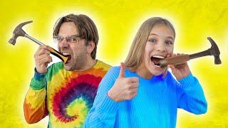 Amelia and Avelina Pretend Play Real vs chocolate Food
