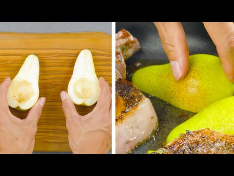 Put 4 Halved Pears In A Pan & Set Them On Fire | Blazing Dinner