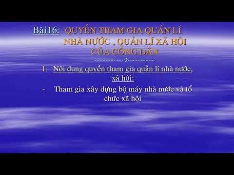 GDCD 9 TIẾT 26 QUYỀN VÀ NGHĨA VỤ CỦA CÔNG DÂN THAM GIA QUẢN LÍ NHÀ NƯỚC