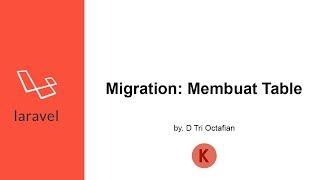 Migration - Membuat Tabel