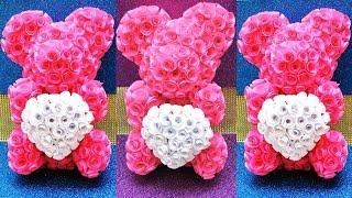 МИШКА ИЗ РОЗ!!! РОЗЫ И ОСНОВА своими РУКАМИ!!! ХИТ. How to Make a Rose Teddy Bear