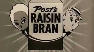 1950s Raisin Bran Commercial featuring Maisie the Raisin and Jake The Flake!