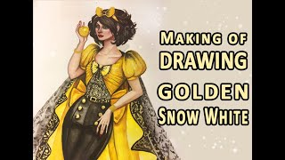 Drawing Golden Snow White 💛 Disney Interpretation - Illustration Art Creation - Watercolor Painting