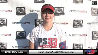 2022 Beija Allen 3.6 GPA - Athletic Outfielder Softball Skills Video PS33 Academy