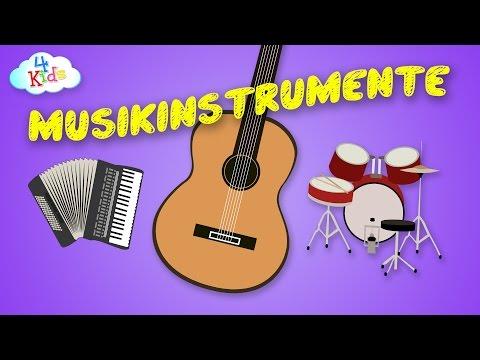 Musikinstrumente Bezeichnungen und deren Klang lernen für Kinder (deutsch)