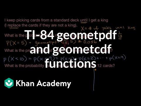 TI-84 geometpdf and geometcdf functions (video) | Khan Academy