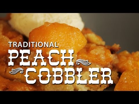 Peach Cobbler – Traditional recipe! Authentic dessert pudding from the American South: Peach Cobbler