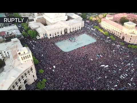 RAW: Drone captures mass protest in Yerevan as Armenian PM resigns