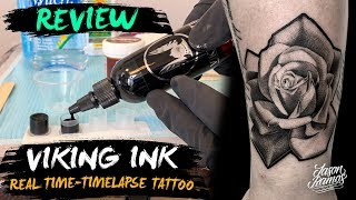 REVIEW VIKING Ink Tinta Para Tatuar//ROSA Realista Tatuaje Black & Grey//TATTOO Timelapse-Real Time