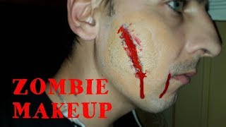 ZOMBIE MAKEOVER!!The wound on his face.ЗОМБИ МАКИЯЖ!!Рваная рана на лице!