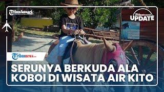 Nikmati Sensasi Berbeda Berkuda ala Koboi Lengkap dengan Atributnya di Wisata Air Kito Jambi