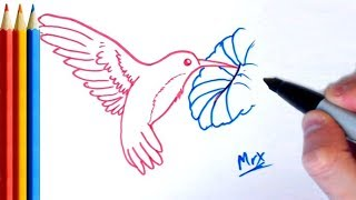 How To Draw Hummingbird - Step By Step Tutorial For Kids