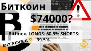Биткоин. $74000? Bitfinex. LONGS: 60.5% SHORTS: 39.5%. Курс биткоина
