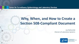 Why, When and How to Create a 508 Compliant Document
