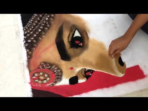 portrait rangoli design of celebrity