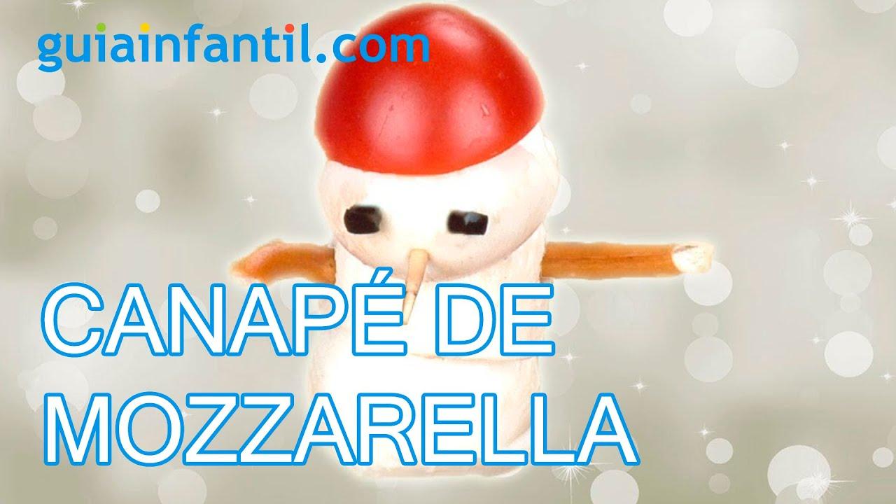 Muñeco de nieve con mozzarella. Canapés para Navidad