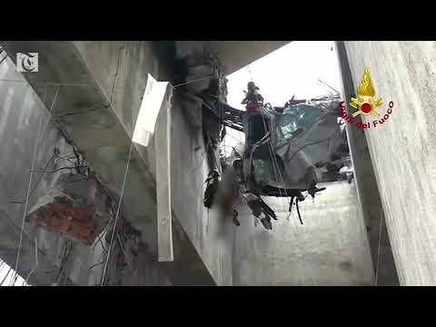 Italian firebrigade rescue person from suspended car