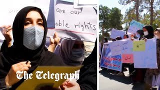 video: Watch: Afghan women hold rare protest to demand rights