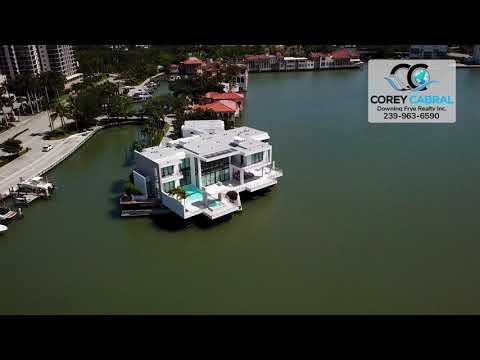 Park Shore Stunning Waterfront Estate Homes Flyover in Naples, Florida