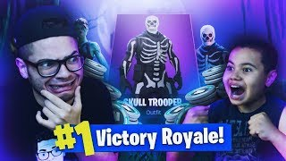 IF 9 YEAR OLD BROTHER WINS THIS SOLO GAME HE GETS SKULL TROOPER! AND THIS HAPPENED... (FORTNITE)