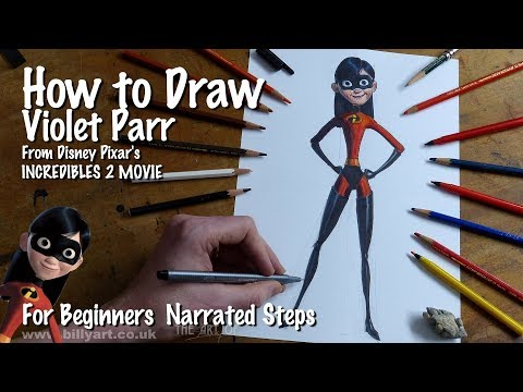How To Draw Violet Parr From Incredibles 2 Voiced By Sarah Vowell