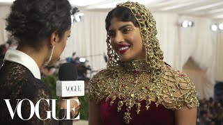 Priyanka Chopra on Her Intricate Beaded Headpiece | Met Gala 2018 With Liza Koshy | Vogue - Video Youtube