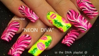 Black and White Zebra Print on Neon Pink Nails Design Tutorial