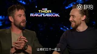 Tom Hiddleston & Chris Hemsworth in Chinese Q&A