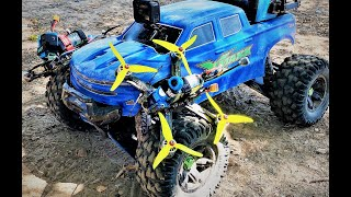 #Xmaxx Launches with FPV #Quad #Chasing! RC & #FPV Big Air #Jumps at Gateway Park!