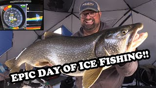My Best Day Of Ice Fishing EVER!   BIG LAKE TROUT X2!!!