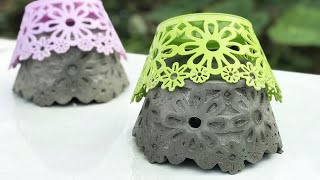 CEMENT IDEAS VERY EASY - Casting Beautiful Flower Pot With Plastic Basket