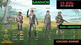 "[Hindi] PUBG Mobile | RON&KRONTEN In Sanhok Map ""35 Kills"" In squad"