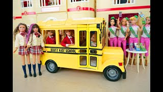 New School Uniforms & School Bus /Barbie Girl Scouts Schulbus Éclaireuses دمية Escoteiras Sekolah
