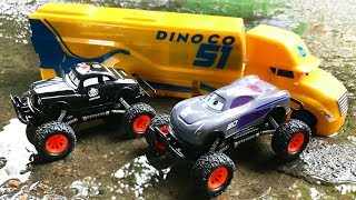 Cars 3 Monster Truck Jackson Storm and Police Car - Play Car toy videos for kids