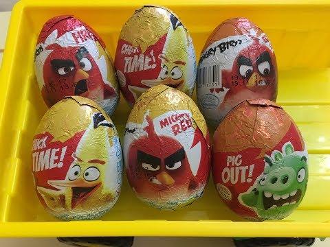 Angry birds. Распаковка шоколадных яиц Энгри Бёрдс. Kinder surprise. Unboxing angry birds