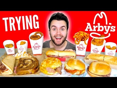 TRYING ARBY'S WHOLE MENU! – Meat Sandwiches, Curly Fries, & MORE Fast Food Mukbang Taste Test!