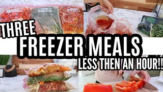 CROCKPOT FREEZER MEALS IN LESS THEN AN HOUR!! | LARGE FAMILY MEALS | FREEZER MEAL PREP