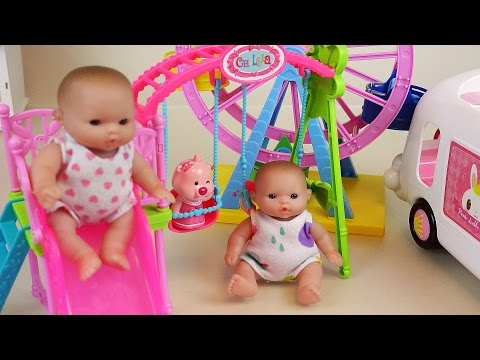 Baby Doll Slide Park Wheel and car toys play