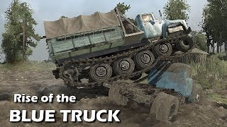 Spintires Mudrunner Blue Truck Rises | B-130 Tracked mod