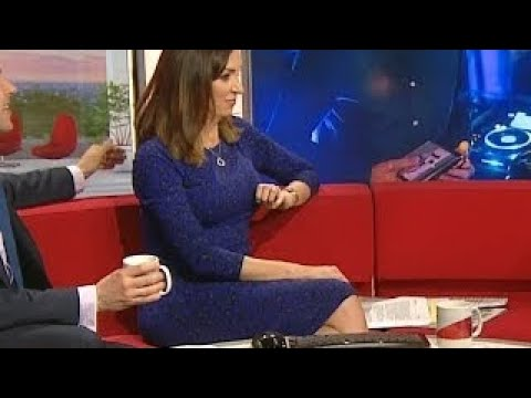 Busty Presenter Sally Nugent Feeling Horny During Interview. Tight Blue Dress.Hand? April