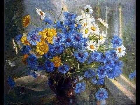 Цветы летние   Васильки Колокольчики Ромашки   Летний вечер  (HD)