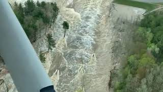 Midland pilot Ryan Kaleto captured this scene of the Edenville Dam embankment failing on May 19, 2020 in Midland County, Michigan. STORY: https://www.mlive.com/news/saginaw-bay-city/2020/05/pilot-captures-aerial-footage-of-roaring-water-as-edenville-dam-bursts-in-midland-county.html