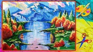 Как нарисовать осень, горы для начинающих. Painting for beginners. An autumn. The mountains