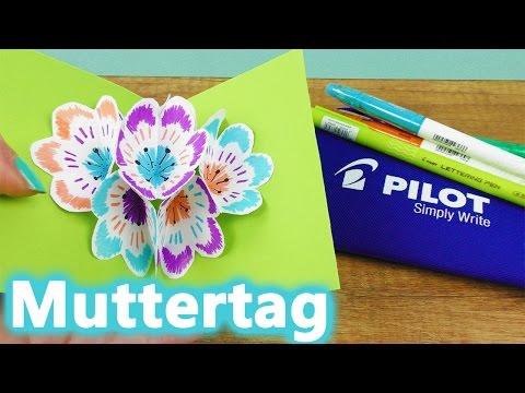 DIY Muttertagskarte 🌸 3D Pop Up Blumenstrauß für den Muttertag | Pilot Pen Frixion DIY | Werbung*