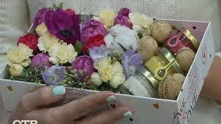 Делаем цветочную композицию в коробке