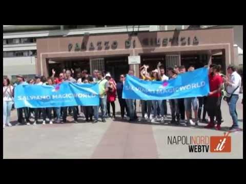 CHIUDE IL PARCO ACQUATICO MAGIC WORLD DI LICOLA, PROTESTA DEI DIPENDENTI AL TRIBUNALE DI NAPOLI: SALVIAMO IL PARCO. GUARDA IL VIDEO