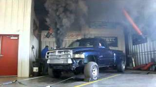 Diesel Truck Smoke Out with Backfire, Cummins Black Smokes Thoroughbred Diesel Shop