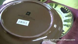 Black Bear Stoneware 16 Piece Dinnerware Set