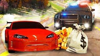 Мультфильмы про машинки. Гонки: полицейская машинка ловит грабителей. Герои нашего города