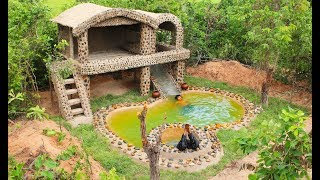 Full Video : Build Swimming Pool Water Slide And Build House Villa Using Mud